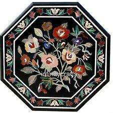 27 Inches Colorful Flower Design Inlaid Sofa Table Top Marble Coffee Table Top