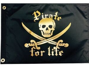 """Nautical Pirate For Life 12"""" x18"""" Two Sided Black Golden Flag 200denier USA Boat"""