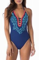 La Blanca Womens Swimwear Blue Size 14 Leaf Embroidered One Piece $125 978