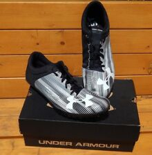 Under Armour UA Kick Sprint Spike Black & White Racing Track Shoe Cleats Size 13
