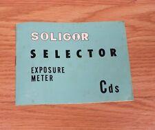 Genuine Soligor Small Rectangular Selector Exposure Meter Cds Owners Manual Read