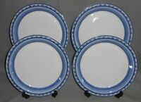 Set (4) Dansk Bistro Cafe BELGIAN BLUE PATTERN Salad Plates MADE IN PORTUGAL
