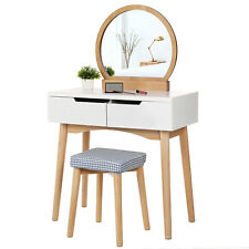 Make-up Dressing Table Set with Round Mirror and Washable Stool Cover RDT11K