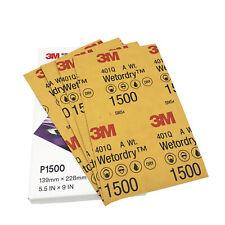 "3M 401Q P1500 grano húmedo o en Seco Papel de Lija 5.5""x 9"" hojas de lija de 50"