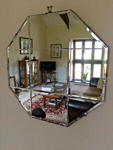 Vintage Art Deco Mirror Octagonal frameless & Bevelled edged & Details Mirror