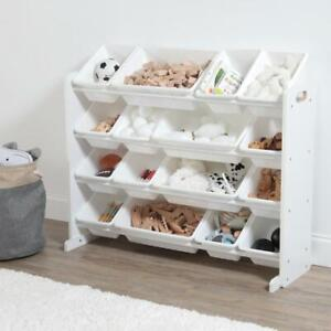 Super Sized Toy Organizer 16 Plastic Bins Removable Indoor Easy Clean Up White