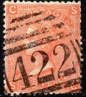 1865 Sg95 4d deep vermilion 'SC' Plate 11 - 422 Kingston Duplex Cancel Fine Used