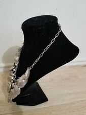 FASHION  COSTUME NECKLACE  BEADED CHUNKY SILVER JEWELRY