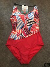 Red Candy Stripe Swimming Costume Swimsuit Size 14 Marks and Spencer