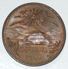 Mexico 20 Centavos  Coin, 1952, 28.5 mm, Pyramid of the Sun at Teotihuacan.UNC.