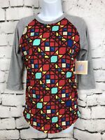 NWT LuLaRoe LLR Women's Teal Red Geo Mosaic 3/4 Gray Sleeve Randy Shirt Sz XXS