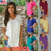 US Womens Summer Blouse Top Short Sleeve Ladies Casual V Neck T-Shirt Loose Tops