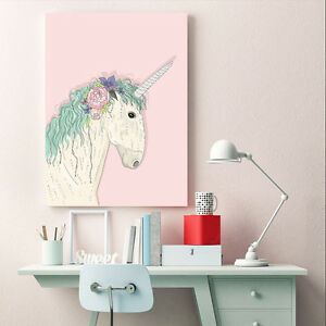 Unicorn Cartoon Canvas Poster Nordic Wall Art Prints Baby Kid Bedroom Decoration