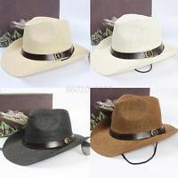 Men Women Straw Summer Beach Belt Hat Wide Brim Sun Hat Fedora Cowboy Jazz Cap