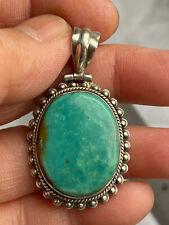 Vintage 925 Mark Sterling Silver Big Turquoise  Pendant