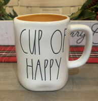 Rae Dunn By Magenta - LL CUP OF HAPPY - LL WHITE W ORANGE INTERIOR Coffee Mug