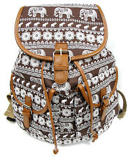 """16"""" Womens Canvas Backpack Leather Trim Padded Strap Brown White ELEPHANT Print"""