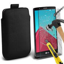 piel sintética negra Funda Deslizable Con Lengüeta & Vidrio para LG G4