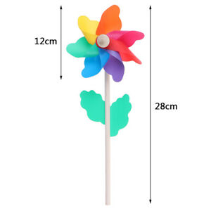 Colorful wood windmill garden party 7 leaves wind spinner ornament kids toys XJ