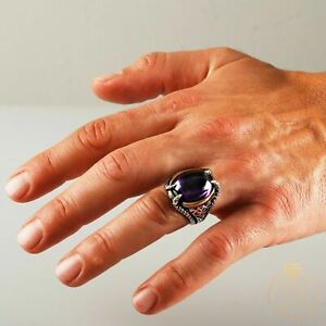 Solid Sterling 925 Silver Handmade Jewelry Brazil Cabochon Amethyst Men's Ring