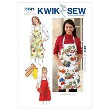 KWIK SEW SEWING PATTERN ADULT & CHILDRENS' SIZES APRON & OVEN MITT K3247