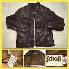 VTG 70s SCHOTT Womens Size 16 Cafe Racer Motorcycle Brown Leather Jacket w/Liner