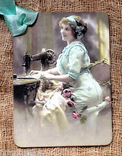 Hang Tags  VINTAGE STYLE LADY SEWING MACHINE TAGS or MAGNET #113  Gift Tags
