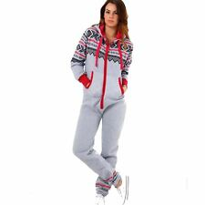 Ladies Plain Aztec Hooded All in One Playsuit Womens Adult Jumpsuit Plus Size 2xl (uk 16) Aztec Silver Grey Red