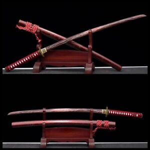 Hand Forged Red T1095 steel Lightning blade Japanese samurai Full Tang Katana