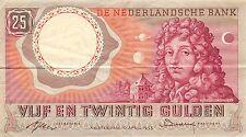 Netherlands  25 Gulden  10.4.1955  P 87 Series BSL  circulated Banknote