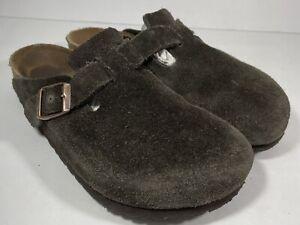 Birkenstock Womens Boston Clogs Brown Suede Closed Toe Slip On Size 38 US 7