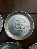 "8 Vintage Stanhome Stanley Aluminum Coasters 3.25"" Advertising Retro Barware"