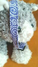 "Cat Collar Handmade - Periwinkle ""Meowy"" Blues Swirls Cotton Fabric"