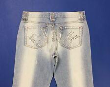 Pinko jeans donna usato strass borchie w27 tg 41 slim bootcut hot sexy T3296