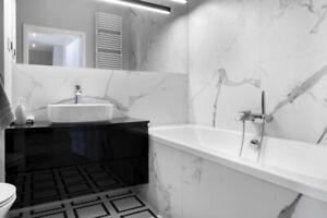 £26.89/m2 White Marble Effect Matt Porcelain Tile 120x60 Wall-Floor SAMPLE