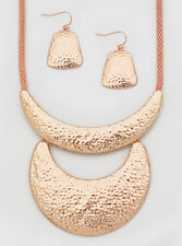 Rose Gold Hammered Look Half Moon Shape Pendant Snake Link Necklace Earring Set