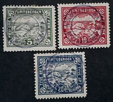 SCARCE 1911- Spitzbergen Norway lot of 3 Polar Bear stamps Used