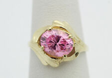 10k Yellow Gold YG Modern Art Deco Cubic Zirconia Fashion Ring Sz 6.25 GG299