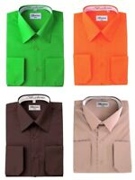 Berlioni Men's Regular Fit One Pocket Solid Colors Dress Shirts
