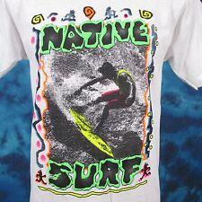 NWT vintage 90s NATIVE SURF T-Shirt SMALL/MEDIUM beach skate neon thin 80s NOS