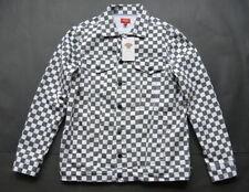 Dickies Girl Juniors Denim Allover Checkered Jacket M Gray White Cotton New