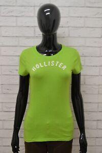 Maglia HOLLISTER Donna Taglia Size M Maglietta Shirt Woman Cotone Verde Slim Fit