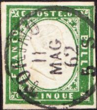 Italian States - Sardinia - 1857 - 5c Myrtle Green King Victor Emmanuel II  #10d