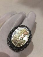 Vintage Real Mother Of Pearl Cameo Marcasite Size 8.5 Ring