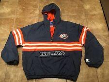 Vtg 80s Chicago Bears STARTER Pullover Hood Parka Jacket Mens Large