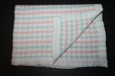 Vintage CHATHAM Pastel Pink  Blue Stripes Baby Blanket White Nylon Trim Lovey