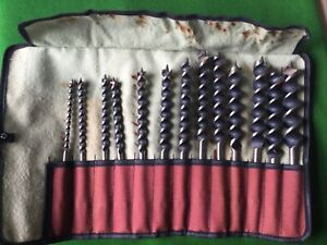 Wm Ridgway 240 Auger Drill Bits X 13 In Roll Bag.
