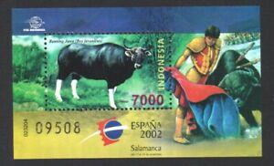 INDONESIA 2002 ESPANA INT'L STAMP EXHIBITION BULLFIGHTING SOUVENIR SHEET 1 STAMP
