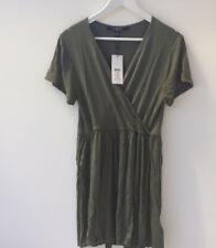 Lipsy Sz 16 Khaki Green Stretch Casual V-neck Stretch Mini Dress NEW
