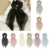 Women Chiffon Bow Long Ribbon Hair Scarf Elastic Scrunchie Rope Tie Rubber K7J8